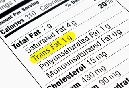 Nutritional Label with Types of Fats