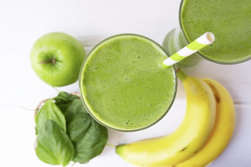 Apple, banana & a green smoothie
