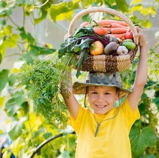 Boy holding up homegrown vegetables