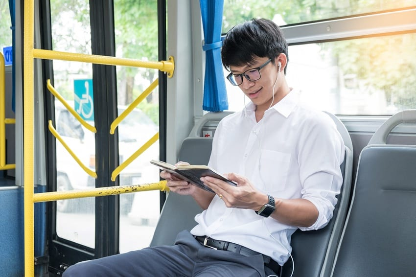 Commuter on public transport