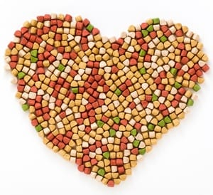 Pet food shaped in a heart