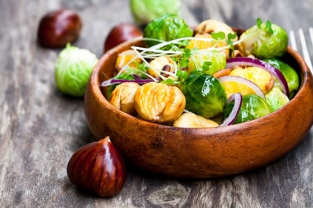 Roasted sprouts with chestnuts