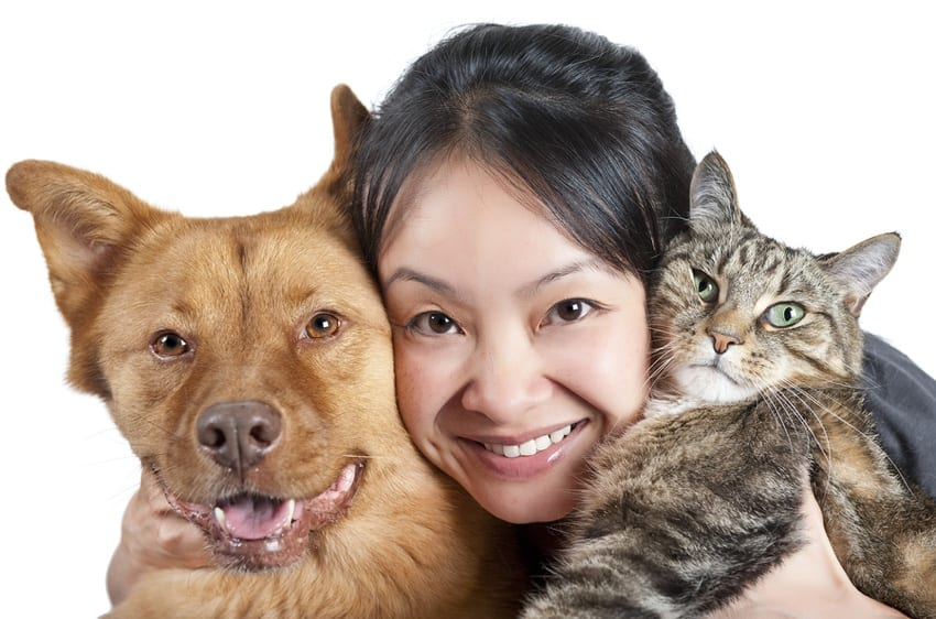 Woman with her dog & cat