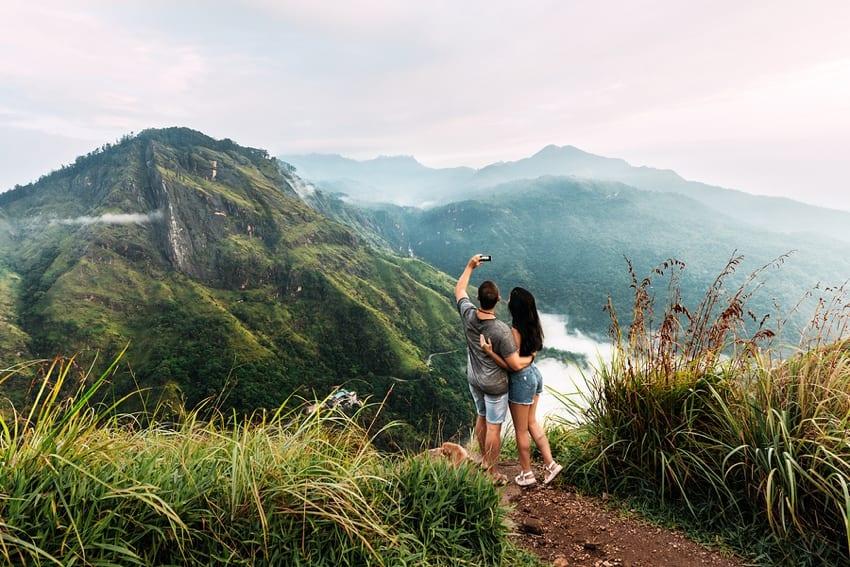 Couple on honeymoon in Asia