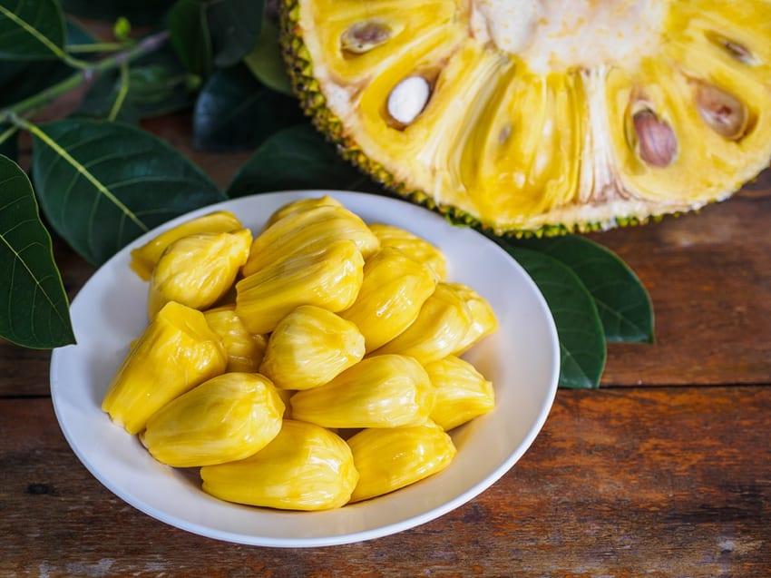 Inside of a jackfruit