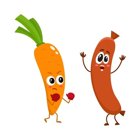 Carrot beating up a sausage