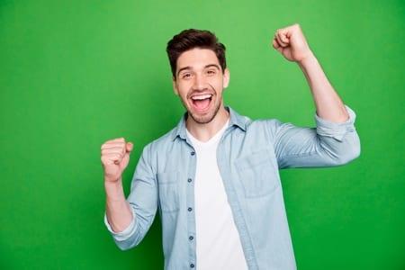 Very happy vegan man