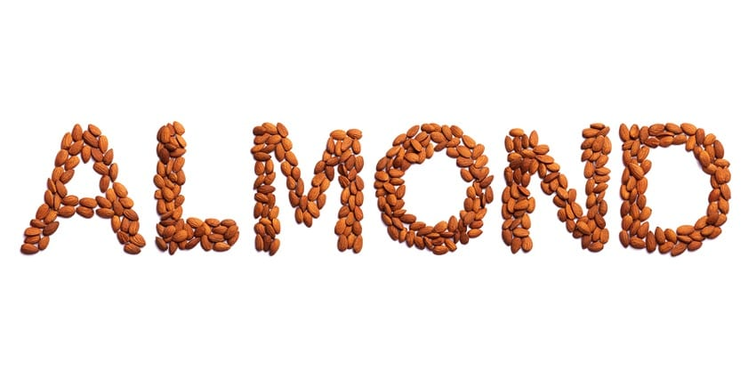 The word almond spelled out with almonds