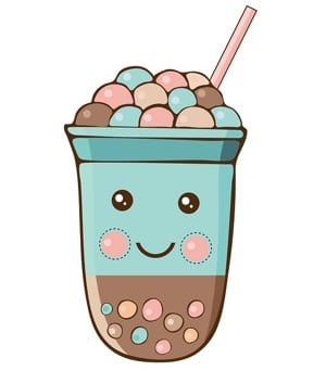 Cartoon bubble tea with boba