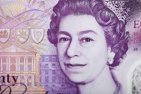 Closeup of British pounds