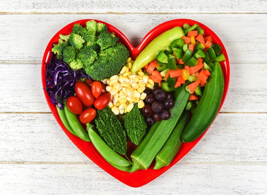 Vegan diet in a heart shaped bowl