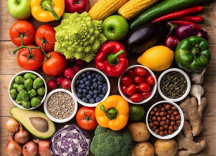 Healthy vegan food selection