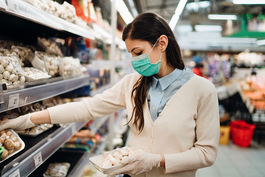 Vegan woman shopping during Covid-19 pandemic