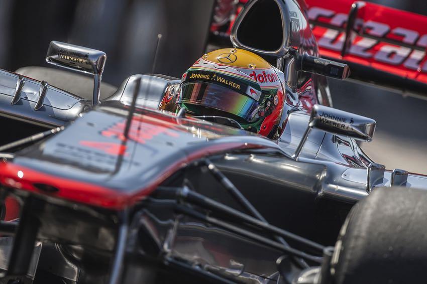 Lewis Hamilton in a racecar