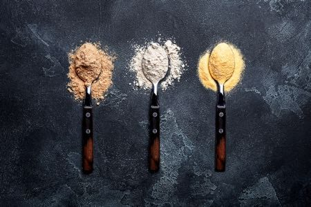 Different vegan protein powders