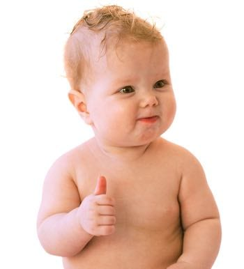 Cute baby with a thumbs up