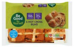 Sainsbury's Hot Cross Buns, Be Good To Yourself x6
