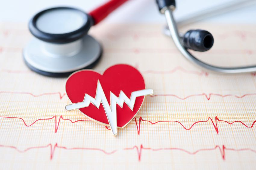 Stethoscope cardiogram and heart sign