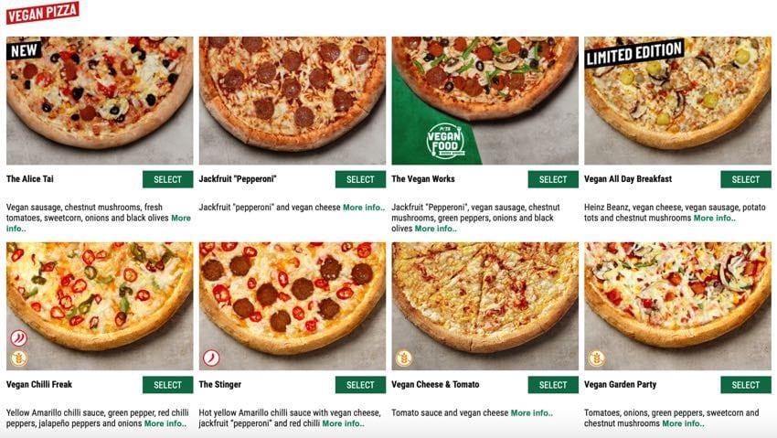 Vegan pizzas at Papa John's