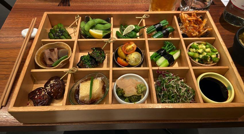 Vegan bento box with sushi
