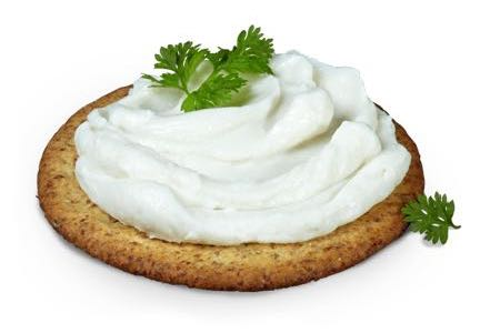 Violife cream cheese on a cracker